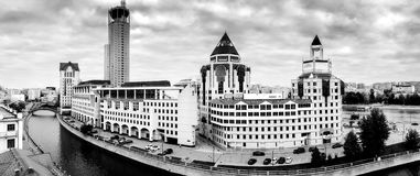 Panoramic view to business center Riverside Towers royalty free stock photography
