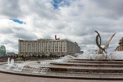 MOSCOW, RUSSIA - September 16, 2017 - Abduction of Europe Fountain on Europe Square in Moscow Stock Photo