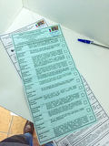 MOSCOW, RUSSIA - SEPTEMBER 18, 2016: The ballots for the electio Royalty Free Stock Photo