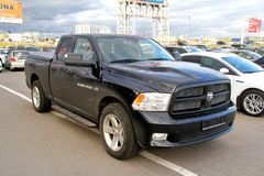 Dodge Ram 1500. Moscow, Russia - September 29, 2012: Black pickup truck Dodge Ram 1500 in the city street stock photo