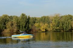 Boat on the Moscow River in the Silver Forest. Stock Image