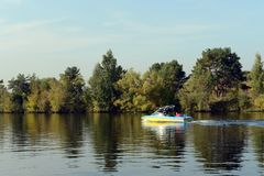 Boat on the Moscow River in the Silver Forest. Stock Photo