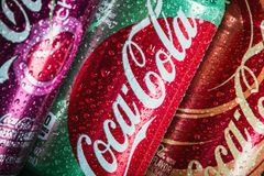 Can Coca-Cola drink with different flavor. Moscow, Russia-September 6, 2018: can Coca-Cola drink with different flavor are available. Coca-Cola is a non royalty free stock photography