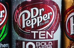 Can Dr. pepper drink with different flavor are available. Moscow, Russia-September 6, 2018: can Dr. pepper drink with different flavor are available.Dr Pepper stock photography