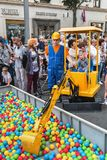 Festivities in honor of the birthday of the 870th anniversary of. Moscow, RUSSIA - September 10, 2017: children play on the playgrounds, on street Tverskaya Stock Images