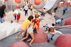 Childrens on the new childrens playground, Gorky Park. Moscow. Moscow, Russia - September 15, 2018: Childrens on the modern childrens playground in the Gorky royalty free stock images