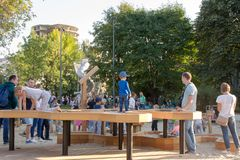 Childrens on the new childrens playground, Gorky Park. Moscow. Moscow, Russia - September 15, 2018: Childrens on the modern childrens playground in the Gorky royalty free stock photography