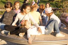 Moscow, Russia: Childrens on the modern childrens playground in the Gorky Park. Moscow, Russia - September 15, 2018: Childrens on the modern childrens stock photography