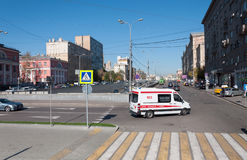 Moscow, Russia - September 22.2015. Crossing the street Novy Arbat and Novinsky Boulevard. Moscow, Russia - September 22.2015. The Crossing the street Novy Arbat Stock Image