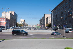 Moscow, Russia - September 22.2015. Crossing the street Novy Arbat and Novinsky Boulevard. Moscow, Russia - September 22.2015. The Crossing the street Novy Arbat Royalty Free Stock Image