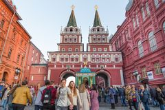 Crowded in front of gate to Red Square Royalty Free Stock Image