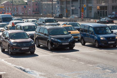 Moscow, Russia -September 21. 2015. Dense traffic on one of the central streets Stock Photos