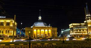 Moscow;Russia,September -first-Two thousand sixteen year;panoramic view of two Moscow train terminals and metro station at night,. Time lapse stock footage