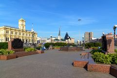 Moscow, Russia - September 25. 2017. General view of Komsomolskaya square. Moscow, Russia - September 25. 2017. General view of the Komsomolskaya square stock photography