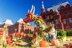 MOSCOW, RUSSIA-SEPTEMBER 24, 2017: Golden Autumn Festival at the. Manege Square in Moscow stock photo