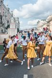 Festivities in honor of the birthday of the 870th anniversary of. Moscow, RUSSIA - September 10, 2017: holiday performances of students and artists on the street Royalty Free Stock Photo