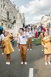 Festivities in honor of the birthday of the 870th anniversary of. Moscow, RUSSIA - September 10, 2017: holiday performances of students and artists on the street Stock Image
