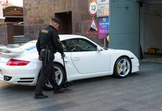 Moscow, Russia - September 23. 2017. Inspects the car at entrance to underground garage on Rozhdestvenka Street. Moscow, Russia - September 23. 2017. Inspects Royalty Free Stock Photos