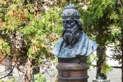 Ivan the Terrible bust on Alley of the Rulers. MOSCOW, RUSSIA - SEPTEMBER 16, 2017: Ivan the Terrible bust on Alley of the Rulers of Russia in courtyard of Royalty Free Stock Images