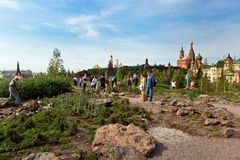 Moscow Kremlin and St. Basil`s Cathedral view in new Zaryadye Park, urban park located near Red Square in Moscow, Russia Stock Photos
