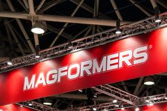 Magformers logo sign printed on banner. Magformers is the industry leader in magnetic building toys for children. Moscow, Russia - September, 2017: Magformers Royalty Free Stock Photo