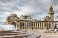 MOSCOW, RUSSIA - September 16, 2017 - The main building of Kievsky railway station in Moscow Royalty Free Stock Image