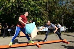Men beat pillows at a sports festival royalty free stock photos