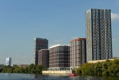 Modern residential complex on the Bank of the Moscow river royalty free stock photos