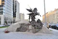 The monument to Mikhail Kalashnikov. MOSCOW, RUSSIA - SEPTEMBER 23, 2017: The monument dedicated to Mikhail Kalashnikov - the inventor of the AK-47 assault rifle Royalty Free Stock Photo