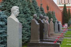 Monument to Joseph Vissarionovich Stalin on the street Korolenko on the Red Square, Moscow, Russia. Moscow, Russia- 23 September 2014: Monument to Joseph stock photography