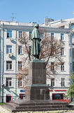 Moscow, Russia - September 21, 2015. Monument to writer Gogol on Nikitsky Boulevard Royalty Free Stock Photography