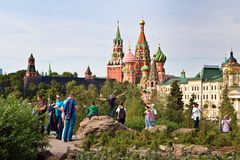 Moscow Kremlin and St. Basil`s Cathedral view in new Zaryadye Park, urban park located near Red Square in Moscow, Russia Stock Photo