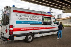 Moscow, Russia -September 15. 2017. Muscovites free vaccination against influenza in Zelenograd Stock Photos