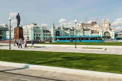 new architecture of Moscow, square the Tver Outpost at the Belo stock image