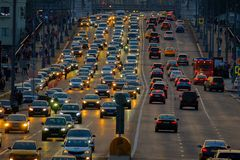 Traffic on the highway. Moscow, Russia - September 9, 2017: Night traffic on the highway in the city Royalty Free Stock Photos