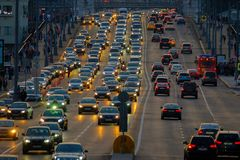 Traffic on the highway. Moscow, Russia - September 9, 2017: Night traffic on the highway in the city Stock Images