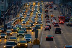 Traffic on the highway. Moscow, Russia - September 9, 2017: Night traffic on the highway in the city Royalty Free Stock Photo