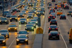 Traffic on the highway. Moscow, Russia - September 9, 2017: Night traffic on the highway in the city Stock Photos