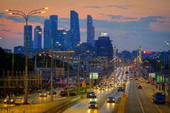 Traffic on the highway. Moscow, Russia - September 9, 2017: Night traffic on the highway in the city Stock Image