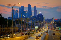 Traffic on the highway. Moscow, Russia - September 9, 2017: Night traffic on the highway in the city Stock Photo