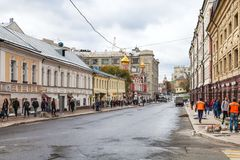 People on Solyanka Street in Moscow city stock images