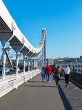 Moscow, Russia - September 24. 2017. People are walking along Crimean bridge. Moscow, Russia - September 24. 2017. people are walking along the Crimean bridge royalty free stock image