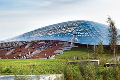 Philharmonic in new Zaryadye Park, urban park located near Red Square in Moscow, Russia. Moscow, Russia - September, 2017: Philharmonic concert hall in new Royalty Free Stock Image