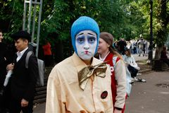 Portrait of female sad clown at festival `Clownfest` in the park Sokolniki in Moscow royalty free stock photography