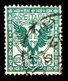 Postage stamp printed in Italy shows Eagle and ornaments, Floreal serie, circa 1901