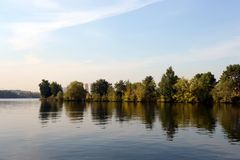 The Moscow River in Serebryany Bor. MOSCOW, RUSSIA - SEPTEMBER 24, 2015: The Moscow River in Serebryany Bor Stock Images