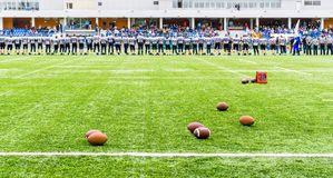 MOSCOW, RUSSIA - SEPTEMBER 06, 2015: Rugby stadium of Sports school of Olympic reserve ?111 Stock Images