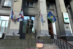 Sculpture of a Soviet tankman near the hotel `Slavyanka` in Moscow. MOSCOW, RUSSIA SEPTEMBER 2, 2016: Sculpture of a Soviet tankman near the hotel `Slavyanka` royalty free stock photo