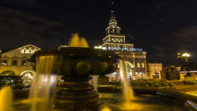 Moscow;Russia,September -seconds-Two thousand sixteen year; Fountain on the square of Three railway station in Moscow, night scene. Time lapse stock footage