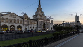 Moscow;Russia,September -seconds-Two thousand sixteen year;panoramic view of  Moscow train terminal Kazansky and satellite square. In dusk and darkness stock video